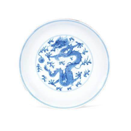 A blue and white 'dragon' dish Kangxi six-character mark and of the period