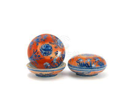 An unusual pair of iron red-ground blue and white boxes and covers Kangxi (4)