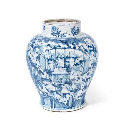 A blue and white 'hundred boys' jar Kangxi
