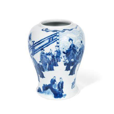 A blue and white 'court meeting' baluster vase Kangxi six-character mark and of the period