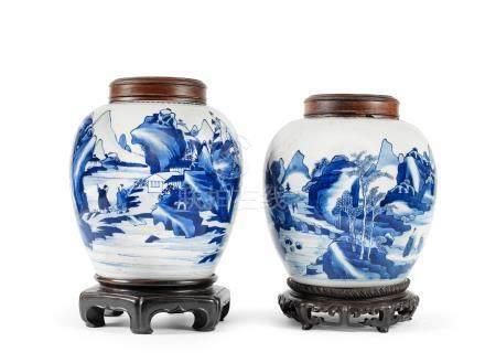 Two blue and white ginger jars Kangxi (6)