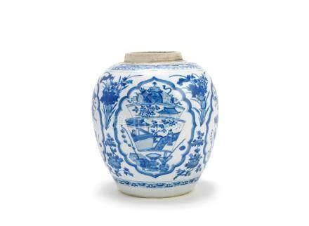 A blue and white 'Precious Objects' jar Kangxi