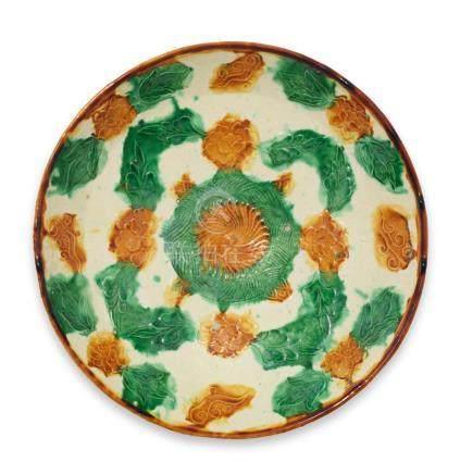A moulded sancai-glazed 'flower' dish Liao Dynasty