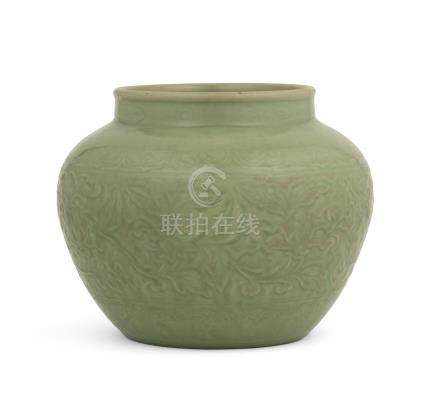 A Longquan celadon-glazed moulded jar Early Ming Dynasty