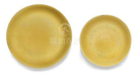 Two rare yellow-glazed saucer-dishes Zhengde six-character marks and of the period