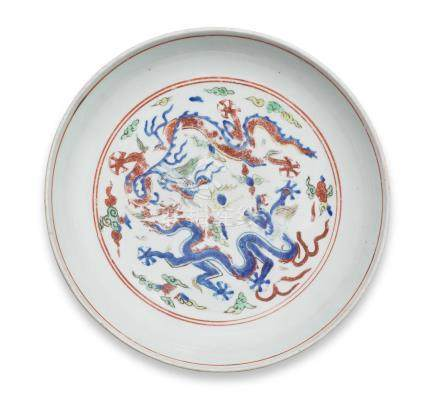 A very rare wucai 'six-dragon' dish Longqing six-character mark and of the period