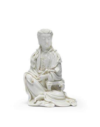 A blanc de Chine seated figure of Guanyin  17th century