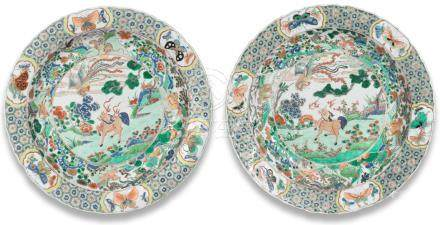 A pair of large famille verte 'Qilin and Phoenix' dishes Kangxi (2)