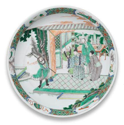 A large famille verte 'Romance of the Western Chamber' saucer-dish Kangxi