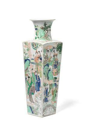 A famille verte square baluster vase Kangxi