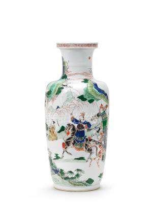 A fine and rare famille verte 'Temptations of Lu Dongbin' rouleau vase Kangxi