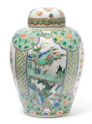 A large famille verte 'Hundred Antiques' jar and cover Kangxi (2)