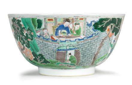 A large famille verte 'Ruse of the Empty Fort' bowl Kangxi