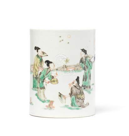 A famille verte 'Romance of the Western Chamber' brushpot, bitong Kangxi
