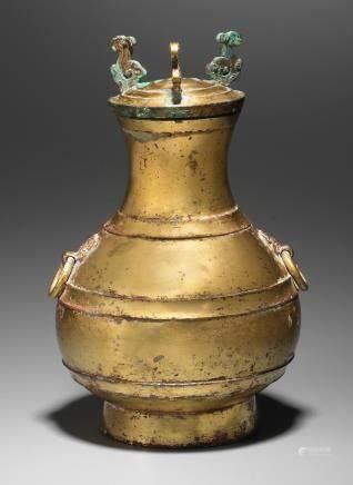 A very rare inscribed gilt-bronze archaic vessel and cover, Hu Western Han Dynasty  (2)