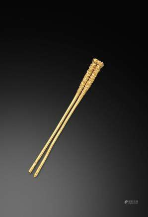A rare gold 'flower' hairpin Song Dynasty  (2)