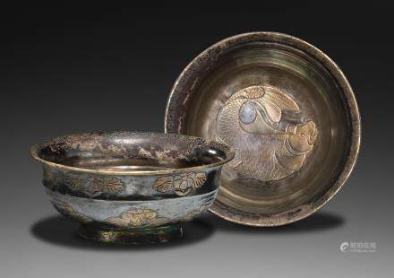 An exceptionally rare pair of parcel-gilt silver 'carp' bowls Liao Dynasty (2)