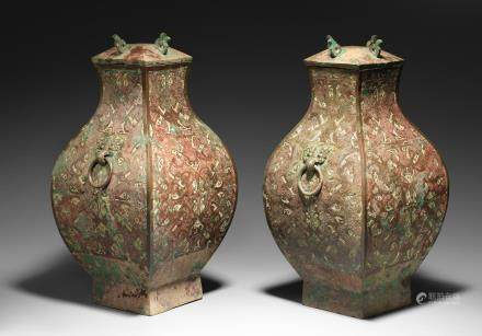 A very rare pair of large inlaid bronze square vessels and covers, Fang Hu Early Western Han Dynasty  (4)