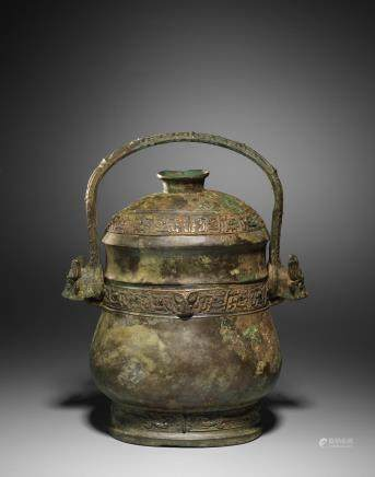 A very rare inscribed archaic bronze vessel and cover, You Mid Western Zhou Dynasty  (2)