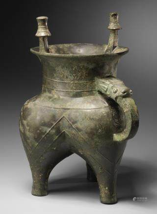 An important archaic bronze ritual tripod wine vessel, Jia Early Western Zhou Dynasty