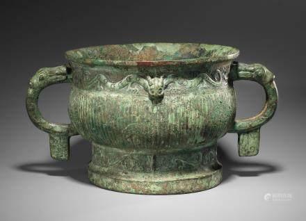 An important archaic bronze ritual food vessel, Gui Western Zhou Dynasty