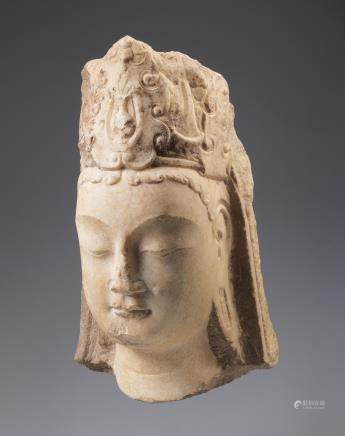A white marble head of Mahasthamaprapta Northern Qi Dynasty