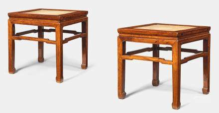 A fine pair of huanghuali square waisted corner-leg stools, fangdeng 17th/18th century  (2)