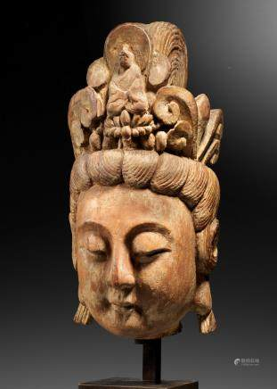 A rare carved wood head of Guanyin  Yuan/early Ming Dynasty