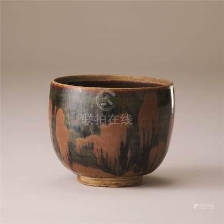 金代 黑釉锈花纹碗