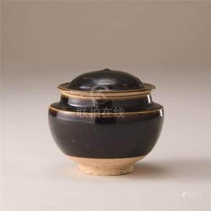 金代 黑釉盖罐
