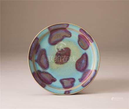 金~元时代 淀青釉紫红斑纹折沿盘