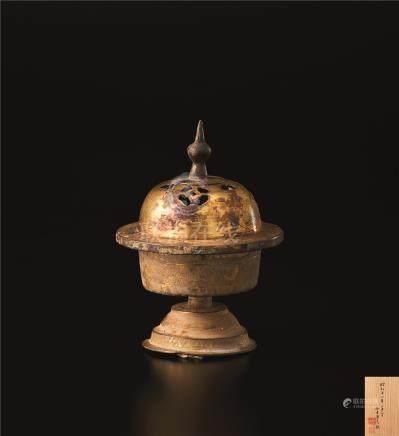唐代 鎏金飞鸟纹香炉