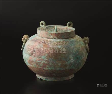 战国时代 青铜蟠螭纹盖罐