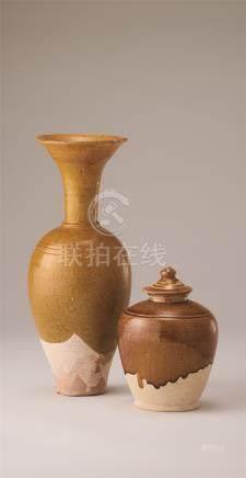 唐・辽代 黄釉盖罐及长颈瓶