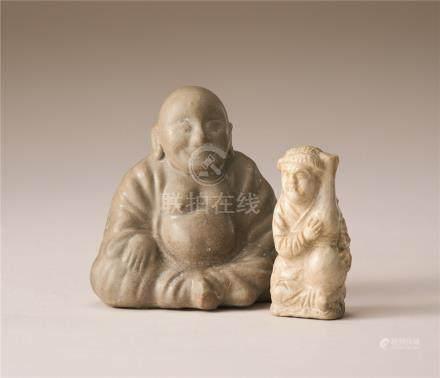 宋代 白瓷胡人俑及青瓷弥勒佛