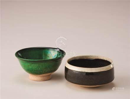 辽・金代 绿釉杯及黑釉杯