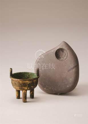 铜鎏金小鼎及端石砚