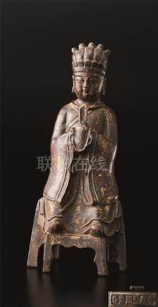 铜漆金佛座像