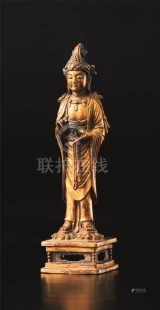铜鎏金佛立像