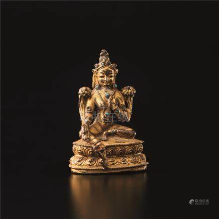 铜鎏金観音座像