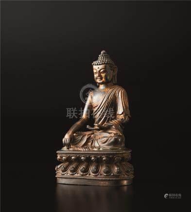 铜鎏金佛座像