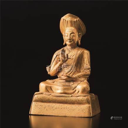 铜鎏金藏佛座像