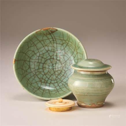 明代 青瓷碗及青瓷盖罐