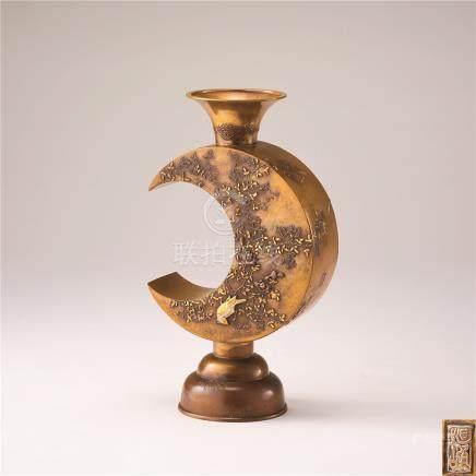 铜鎏金花鸟纹瓶