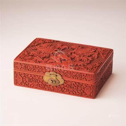 剔红牡丹图珠宝盒