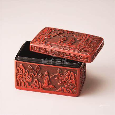 剔红高士纹长方盖盒