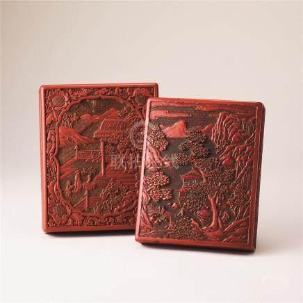 剔红山水纹砚盒 (二件)