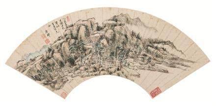 康熙34年(1695) 仿子久山水图 扇面 设色纸本