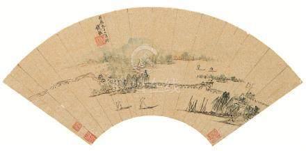 隆庆2年(1568) 山水图 扇面 设色纸本