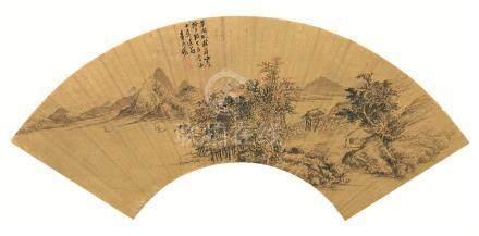 顺治14年(1657) 草阁临秋声图 金扇 设色纸本
